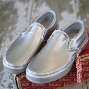 NEW Vans Classic Slip on Silver Metallic Shoes 5